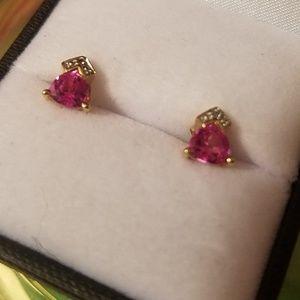 Jewelry - 10k gold pink topaz earrings